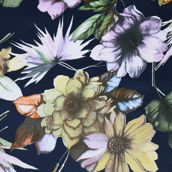 Baumwoll- Velvet große Blumen - nachtblau/gelb/flieder/schilfgrün/orange