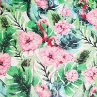 Baumwollstoff Rosa Flamingo - wollweiss/rosé/fuchsia/grün Öko-Tex Standard 100