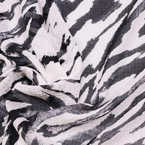 Chiffon Zebra gesmokt - weiss/schwarz