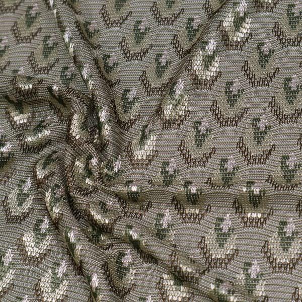 Stretch Viskose Feinstrick-Jersey Pfauenauge - taupe/braun/beige/dunkelgrün