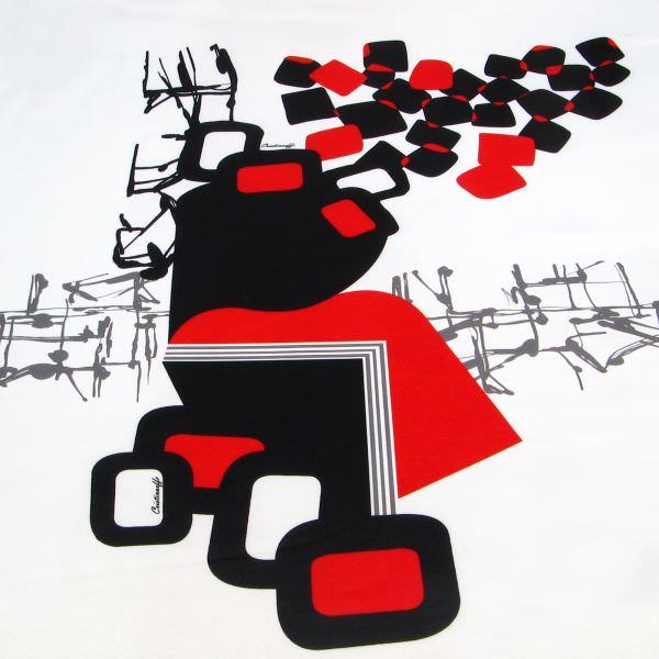 Jackenstoff Futuristisches Muster PANEL - wollweiss/rot/schwarz (2.Wahl)