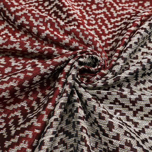 Jacquard Stoff mit Muster - rot/wollweiss/beige/schwarz