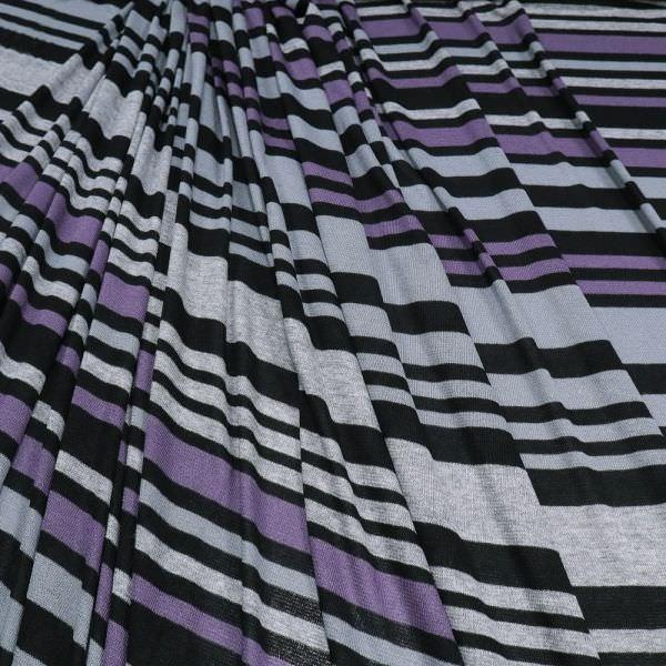 Stretch Feinstrick Querstreifen - grau/lila/schwarz