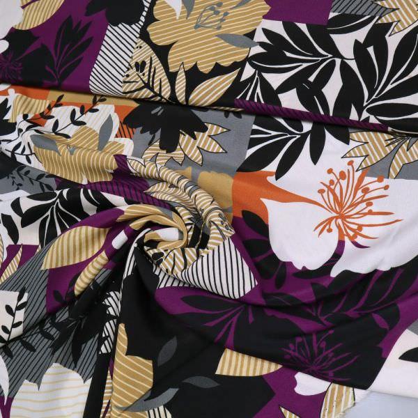 Viskose Crêpe Blumen & Blätter - weiss/violett/ocker/terrakotta/schwarz