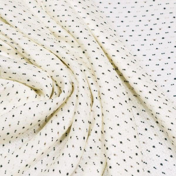 Viskosestoff kleines Muster - wollweiss/taupe/nachtblau