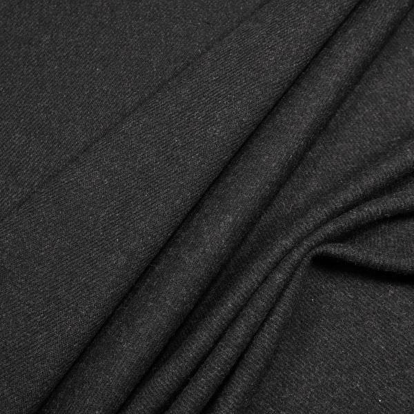 Wollstoff-Mix mit Köperbindung uni - schwarz (Reststücke 2x 4,0m)