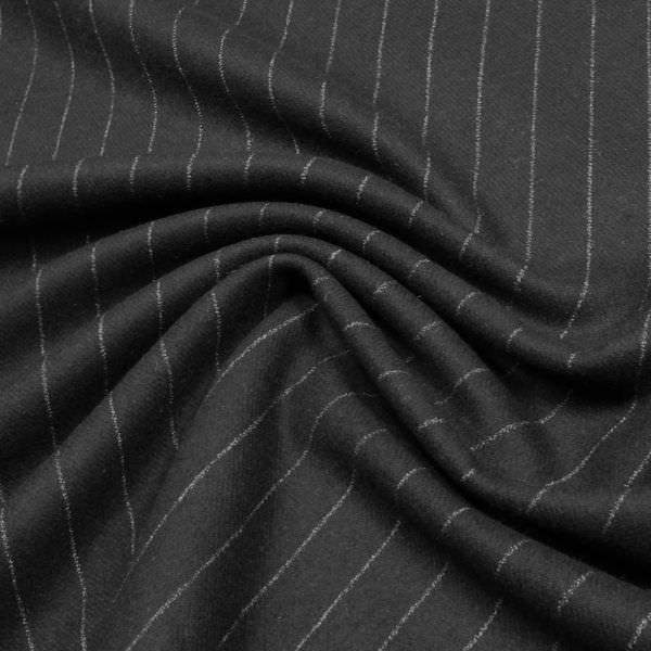 Reine Wolle Wollstoff mit Nadelstreifen - schwarz/wollweiss