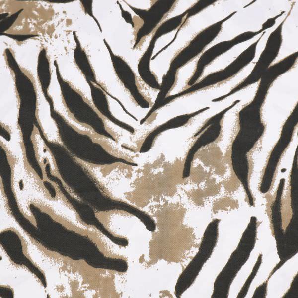 Baumwoll- Twill Animal-Print - weiss/taupe/schwarz
