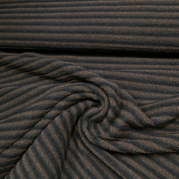 Wollstoff Bouclé mit Streifen - schwarz/braun