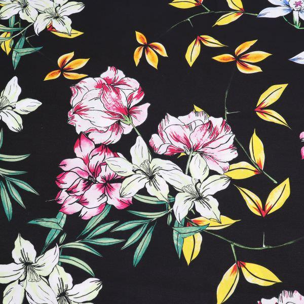 Viskosestoff Lilien Blüten - schwarz/gelb/fuchsia/blau