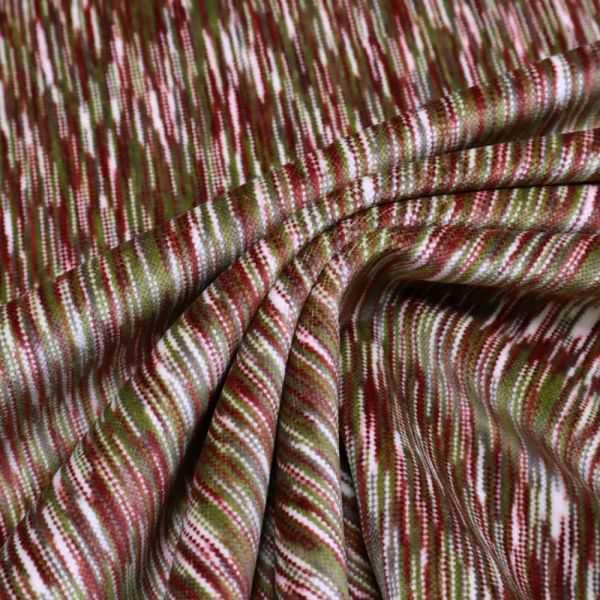 Baumwoll- Samt Streifen-Muster - wollweiss/weinrot/olivgrün