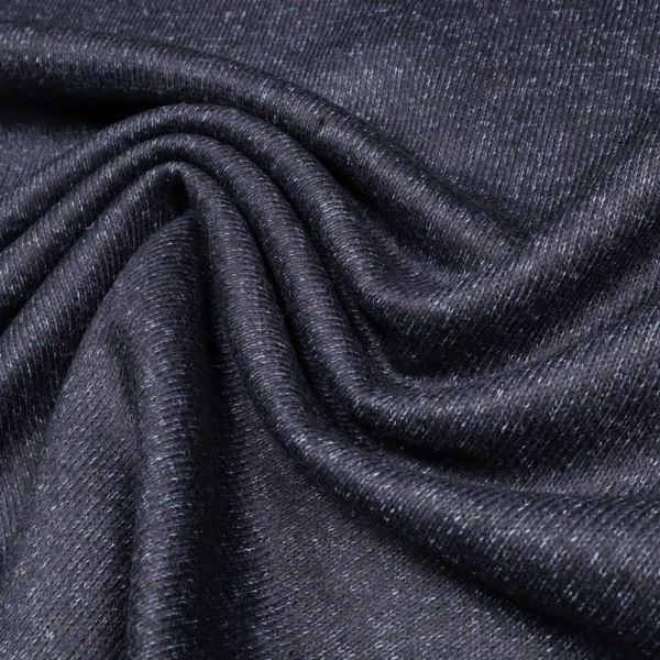 Walk- Strickstoff Melange - nachtblau/hellblau