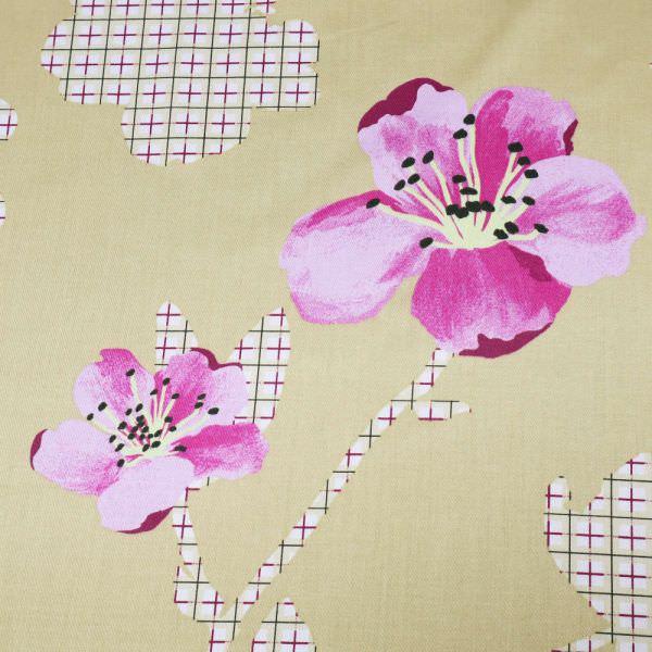 """Baumwoll-Satin """"Blumen&Karo""""- beige/fuchsia/rosé/weiss (Nur 70cm/breit !) (Reststücke - 4,0m)"""