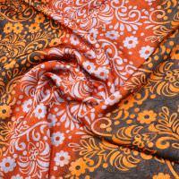 Javanaise Viskose Satin Blumenranken - terrakotta/orange/braun/grau