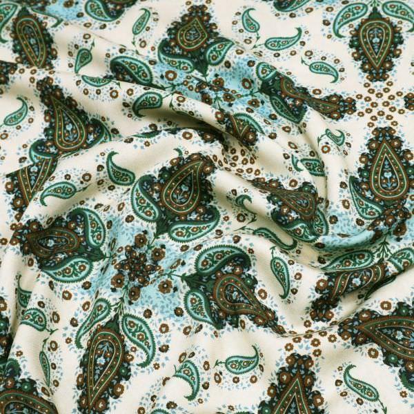 Viskosestoff Blumen & Paisleymuster - beige/dunkelgrün/hellblau/braun