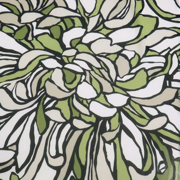 """Chiffon """"Chrysanthemen"""" - wollweiss/beige/schilfgrün/schwarz"""