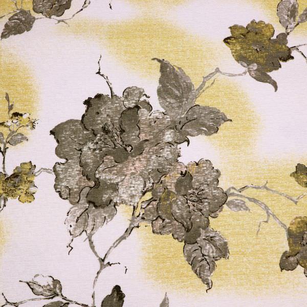 Dekostoff Baumwollstoff Blumen & Struktur - wollweiss/goldgelb/gold/taupe