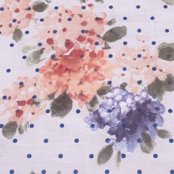 Baumwolle-Seide Voile Blumen & Punkte - wollweiss/altrosa/lachs/dunkelblau