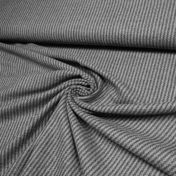 Schurwolle-Mix Streifen & Melange - grau/schwarz