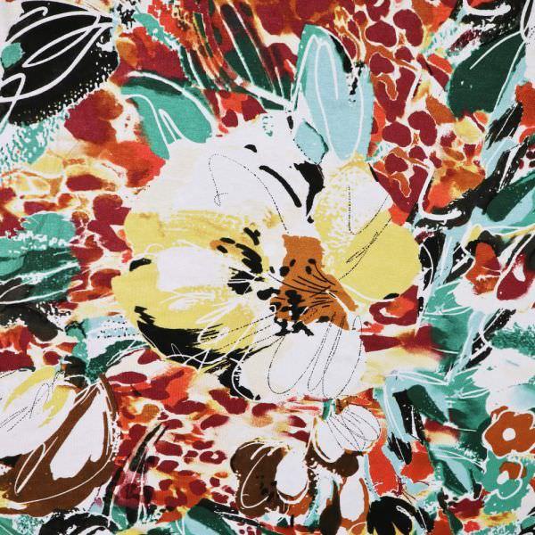 Viskosejersey mit Blumen - wollweiss/gelb/bordeaux/terrakotta