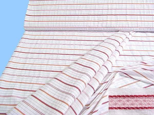 Baumwollstoff mit Streifen - weiss/rot