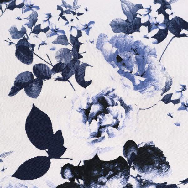 "Viskose-Baumwollstoff-Mix ""Rosen""- wollweiss/jeansblau/marineblau"