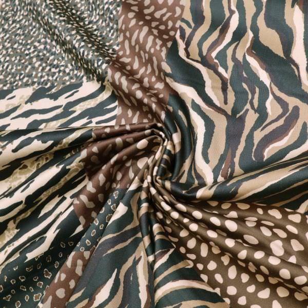 Digitaldruck Baumwoll- Stretch Satin Animal Print - beige/braun/khaki/schwarz