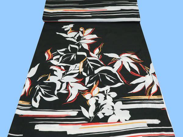 Viskosestoff mit Blumenmuster - schwarz/weiss/gelb/rot