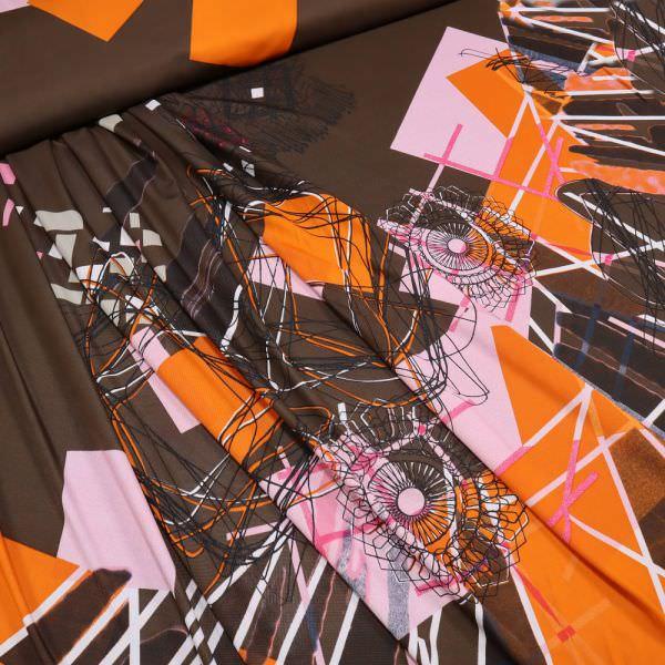 Slinky-Jersey Mandala & Geometrische Muster - braun/rosé/orange/weiss/schwarz