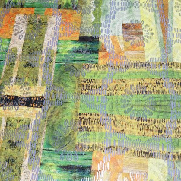 Spitzen Futuristisches Muster - wollweiss/grün/gelb/orange