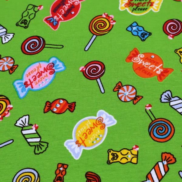 "Baumwolljersey ""Sweets Bonbons"" - grün/rot/türkis/gelb/orange"