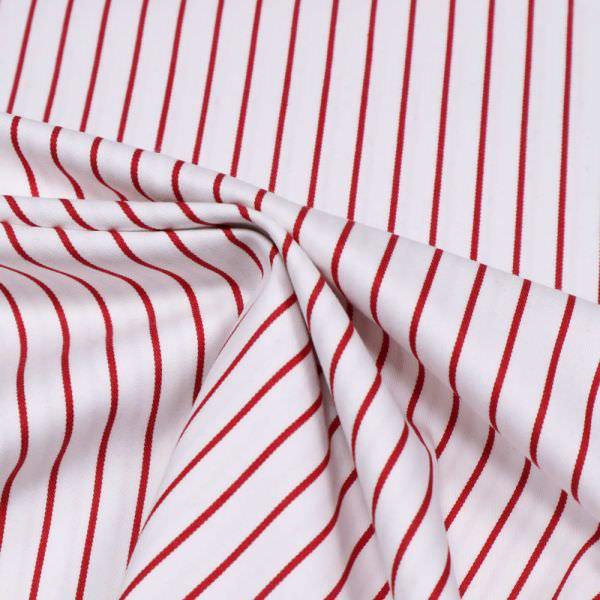 Stretch Baumwoll- Twill Streifen - weiss/rot