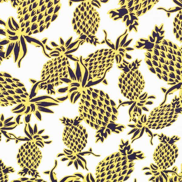 Stretch Baumwoll- Twill Ananas - wollweiss/hellgelb/nachtblau