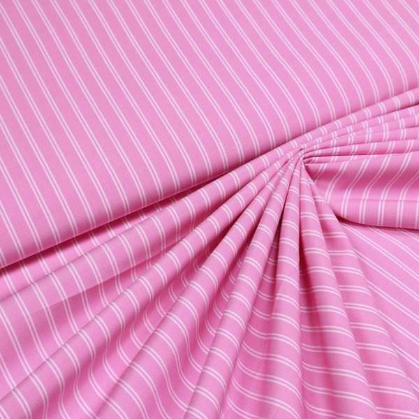 Stretch Baumwoll- Popeline mit Streifen - rosé/weiss