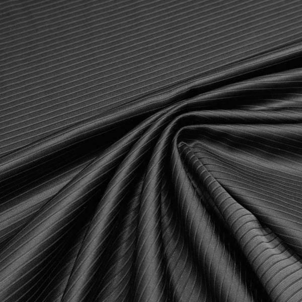 Wollstoff-Mix Kleider und Jackenstoff Querstreifen uni - schwarz