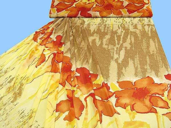 Feinjersey mit Blumenmotiv - hellgelb/gelb/orange/terrakotta/hellrot/beige/braun
