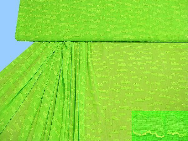 Chiffon mit eingewebtem Muster uni - neongrün