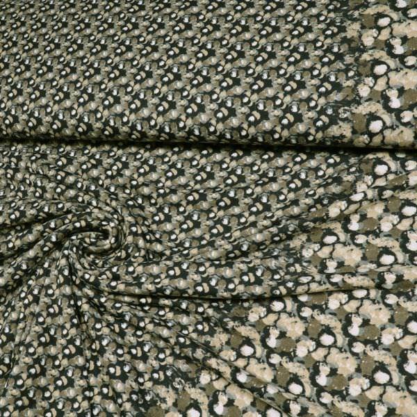 Jersey kleines Muster & Bordüre - schwarz/taupe/braun/grau/beige