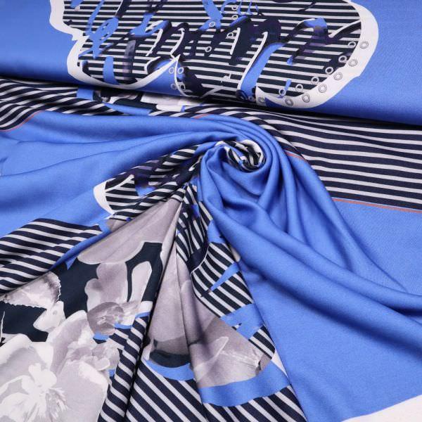 Viskosestoff Streifen, Blumen & Handschrift - blau/weiss/grau/nachtblau (2.Wahl)
