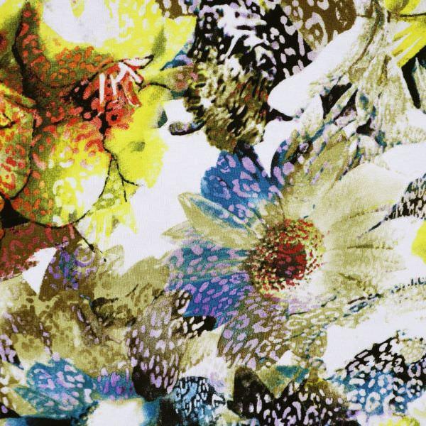 """Viskosejersey """"Blumen&Leopardenmuster""""- wollweiss/gelb/rot/flieder/petrol"""