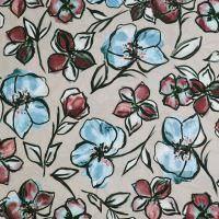 Viskose Crêpe mit Blumen - altrosa/bordeaux/türkis/schwarz