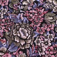 Gobelin Stoff Jacquard bunte Blumen - schwarz/altrosa/bordeaux