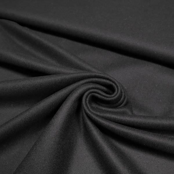 Wollstoff-Mix mit Köperbindung - schwarz (Reststück - 2,5m)