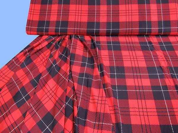 Blusen- und Kleiderstoff mit Karo - rot/schwarz/weiss