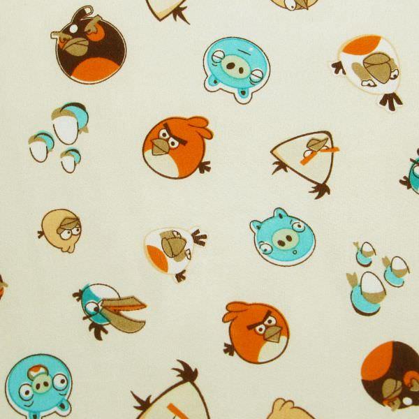Kinderstoff Crêpe Angry Birds - creme/orange/türkis/apricot