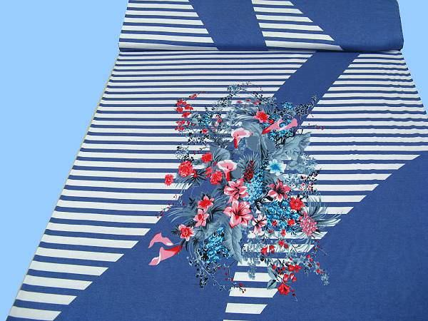 Viskosejersey mit Querstreifen und Blumenmotiv - weiss/blau/multicolor