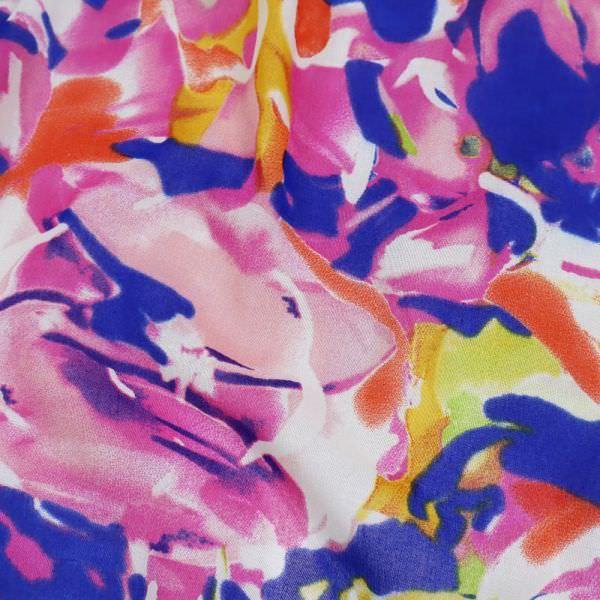 Baumwoll-Voilé Bunte Blumen - royalblau/rosé/gelb/violett/lachs/fuchsia
