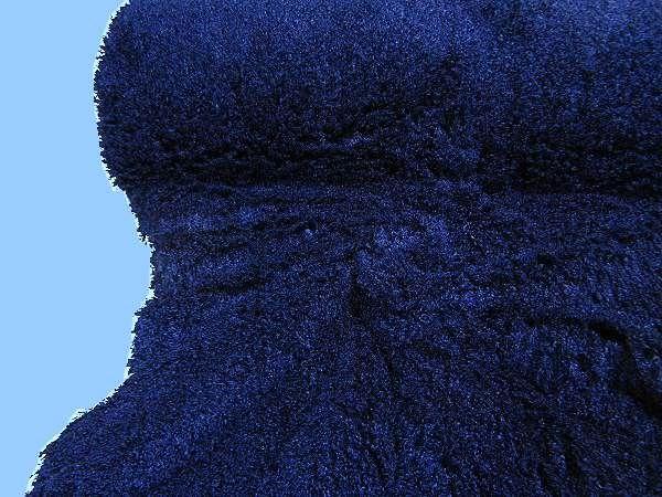 Flokati Strick uni - dunkelblau