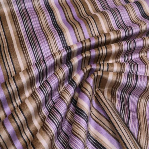 Baumwoll- Stretch Samt Streifen - beige/braun/flieder/schwarz