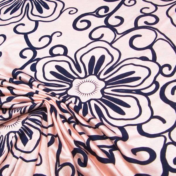 Viskosejersey Relief Blumen - rosé/nachtblau